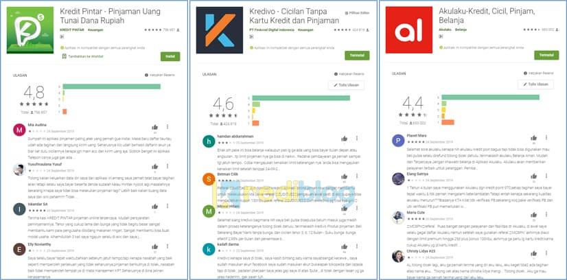rating aplikasi pinjaman online di google play