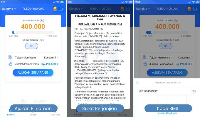 step by step pengajuan pinjaman uangme
