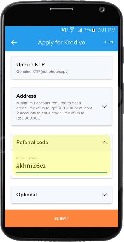 kode referal kredivo