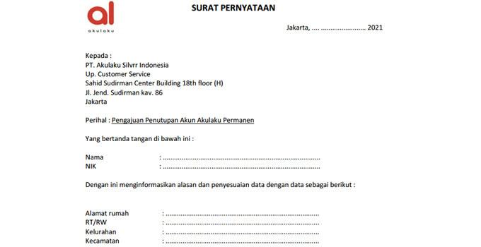 surat pernyataan untuk menutup akun akulaku
